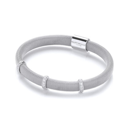925 Sterling Silver Mangetic Bangle with Three Rows of Cz's