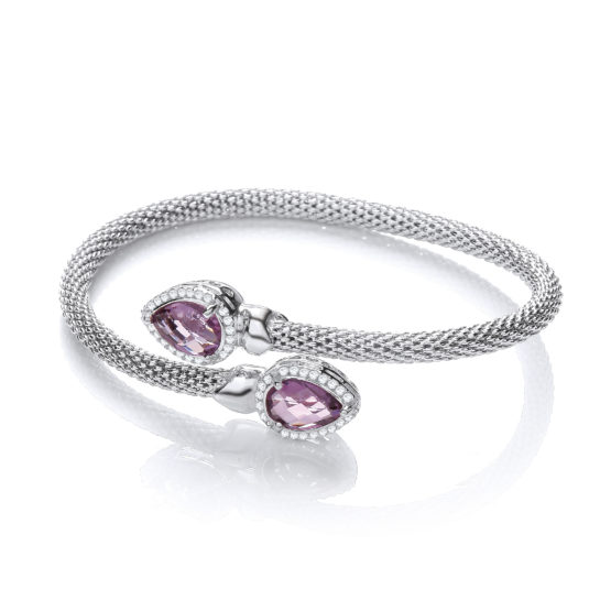 Cross Over Bangle with Amethyst and Cz's Pear Shape