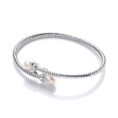 Ellen Pearl Platinum Plated Sterling Silver Bangle Bracelet with Fresh Water Pearls and Cz Crystals