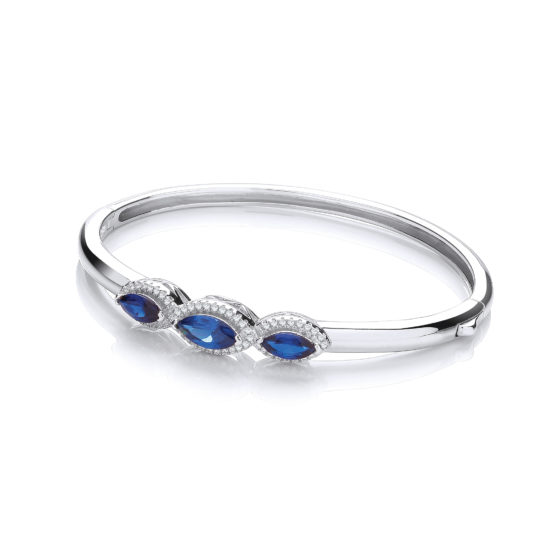 Three Azure Blue Marquise Cz Bangle