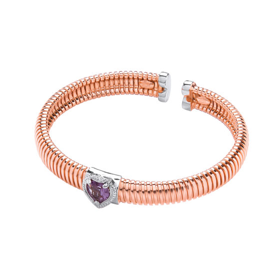 Rose Gold Plated 925 Sterling Silver Bangle with Amethyst 0.95ctw Heart