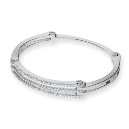Micro Pave' Cz Hinged 925 Sterling Silver Bangle