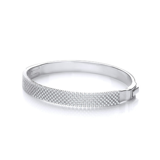 Micro Pave' Multi Row Cz 925 Sterling Silver Bangle