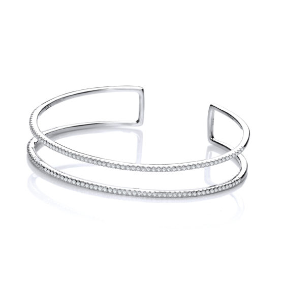 Micro Pave' Two Row Cz Cuff 925 Sterling Silver Bangle