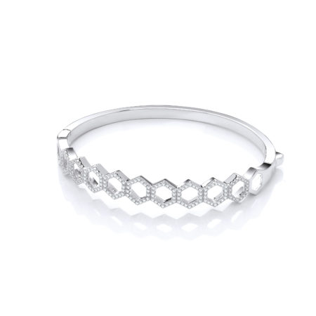 Arlene SWAROVSKI Zirconia Platinum Plated Sterling Silver Bangle Bracelet