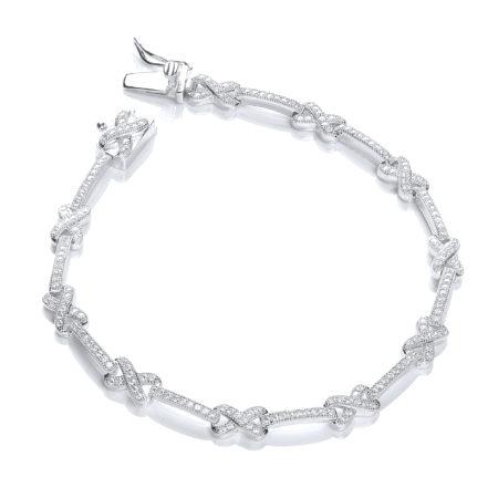 Orianna SWAROVSKI Zirconia Infinite Platinum Plated Sterling Silver Bracelet 7inch 18cm