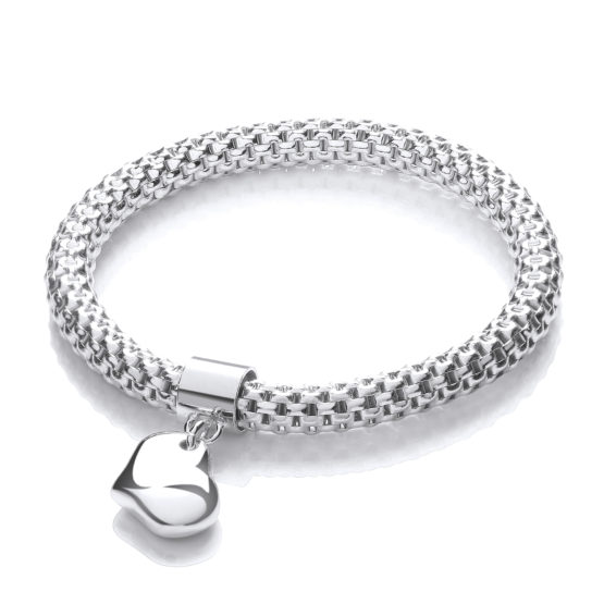 Mesh with Heart Pendant- Fancy Bracelet
