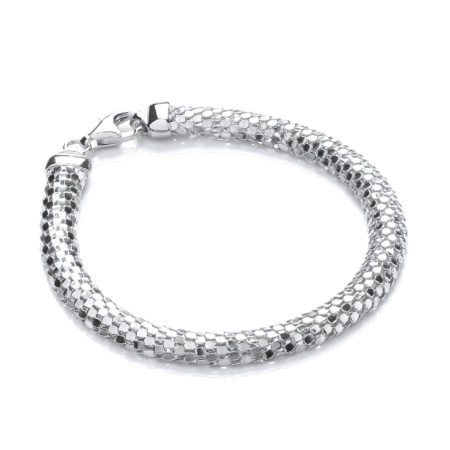 D-Shape 925 Sterling Silver Colour Mesh Bracelet
