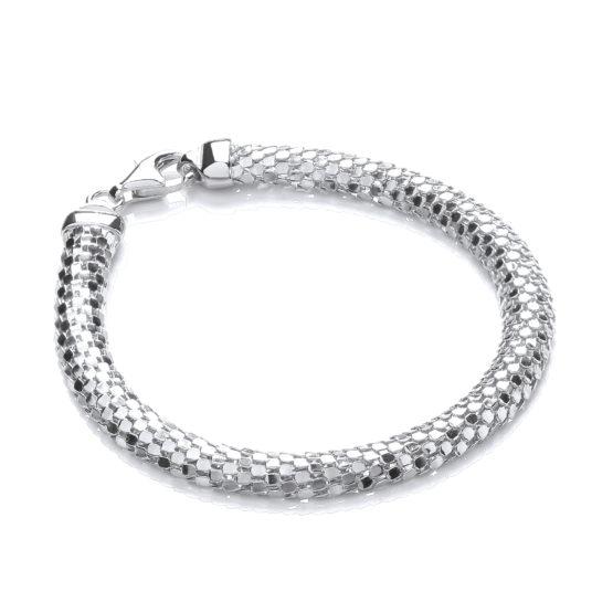 D-Shape 925 Sterling Silver Colour Mesh Bracelet