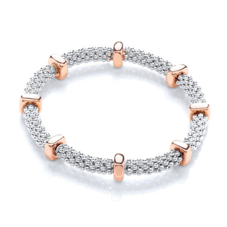 925 Sterling Silver Mesh & Rose Disc Colour Bracelet