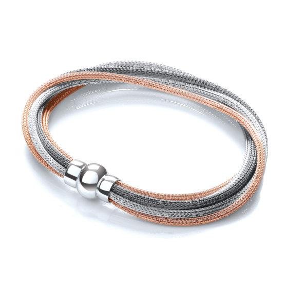 3 Tone (Rose, 925 Sterling Silver & Ruthenium) Mesh Bracelet