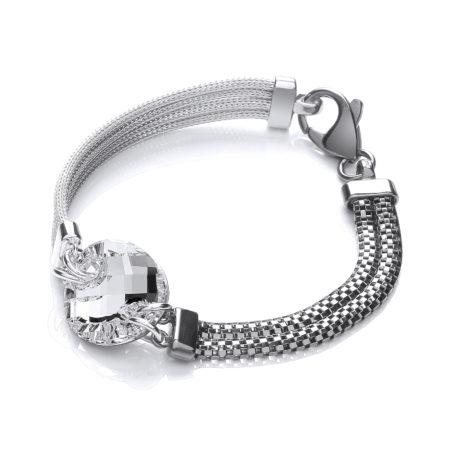 Ruthenium & 925 Sterling Silver Mesh Bracelet