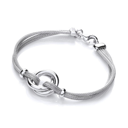 925 Sterling Silver Fancy Centre Mesh Bracelet