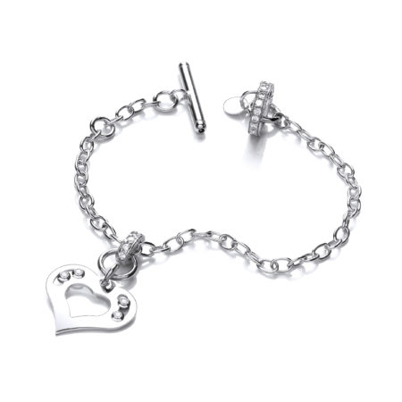 925 Sterling Silver Heart Bracelet with Floating Swarovski Elements