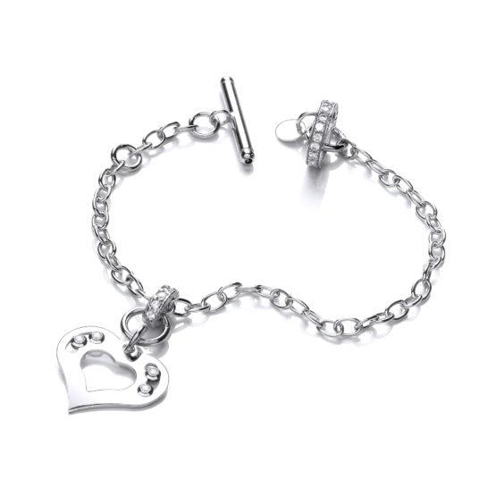 925 Sterling Silver Heart Bracelet with Floating Swarovski Elements