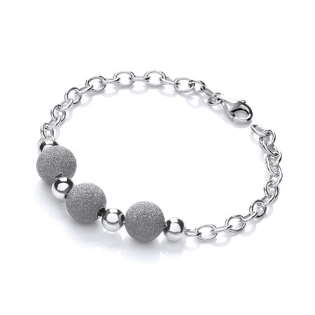 925 Sterling Silver with Three Moondust Beads Bracelet