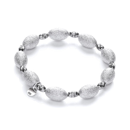 925 Sterling Silver bracelet with Frosted & Ruthenium Beads