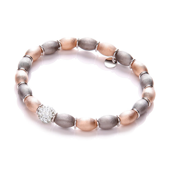 Rose & Ruthenium Plated with Crystal Bead Bracelet