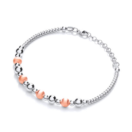 925 Sterling Silver & Rose Plated Beads Bracelet