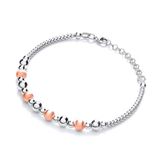 925 Sterling Silver & Rose Plated Beads Bracelet