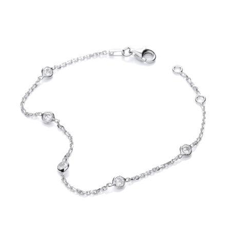 "925 Sterling Silver Rubover 5 Cz's Bracelet 7"""