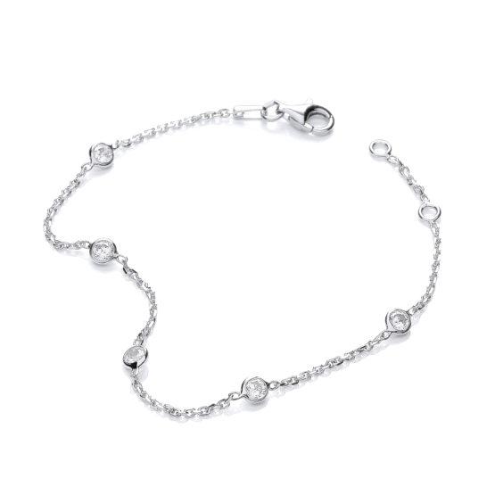 925 Sterling Silver Rubover 5 Cz's Bracelet 7″