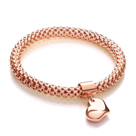 Rose Mesh with Heart Pendant - Fancy Bracelet
