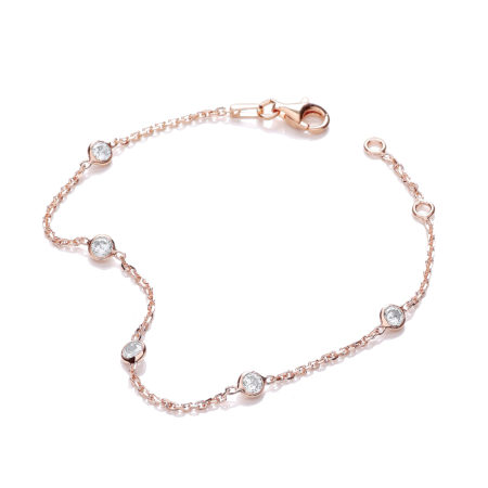 "Rose Gold Plated Rubover 5 Cz's Bracelet 7"""