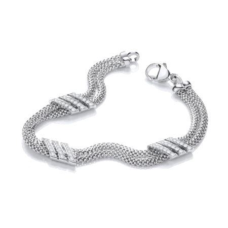 Double Row 3 Strings of Cz's Bracelet 7""