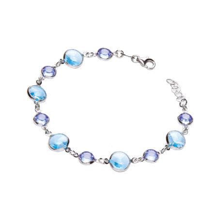 "Blue Swarovski Stones, 925 Sterling Silver Bracelet 7"""