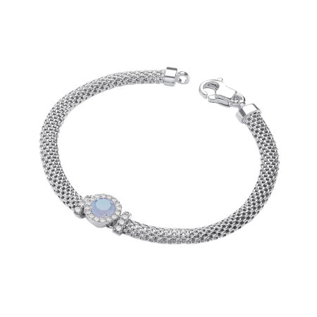 "925 Sterling Silver Mesh Bracelet 7"" with Simulated Topaz"
