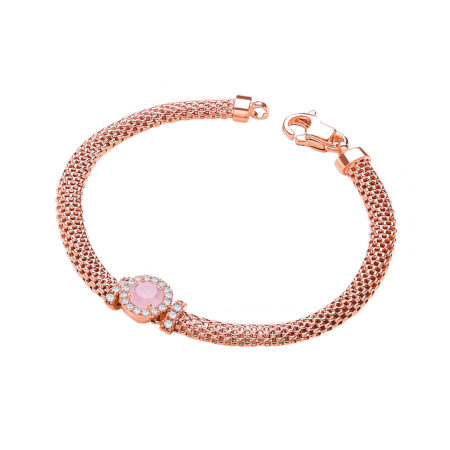 """925 Sterling Silver Rose Gold Plated Mesh Bracelet 7"""" with Simulated Amethyst"""
