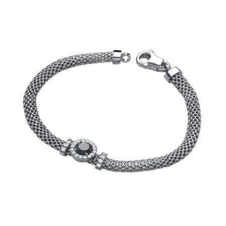 """Ruthenium Mesh Bracelet 7"""" with Simulated Onyx"""