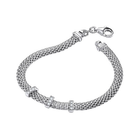 "925 Sterling Silver Mesh with Cz's 7""/19cm Bracelet"