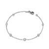 Ruthenium Coated Rubover 5 Cz's 7″/19cm Bracelet