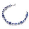 Sapphire Blue Swarovski Zirconia Crystals Platinum Plated Sterling Silver Bracelet 7inch 18cm