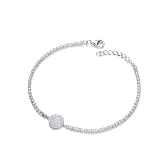 925 Sterling Silver Friendship Bracelet with Pave Round Pendant