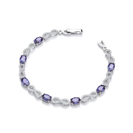 April Infinity Sapphire Blue Cz Crystal Bracelet Platinum Plated Sterling Silver 7inch-18cm