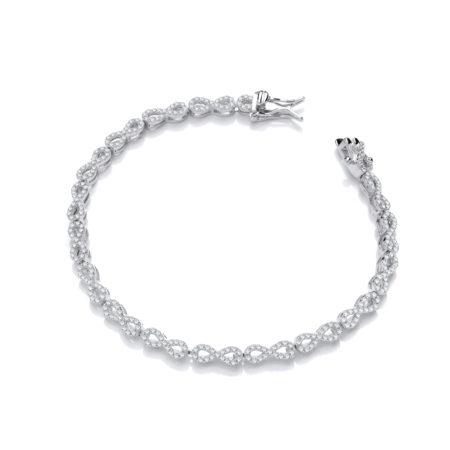 Infinity Tennis 925 Sterling Silver Cz Bracelet