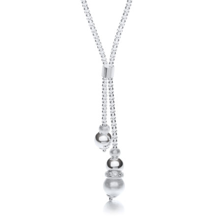 925 Sterling Silver Milgrain Ball & Moondust Beads Drop Chain