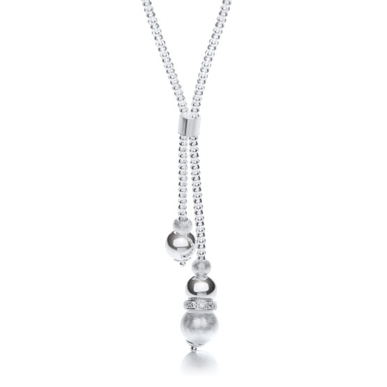 925 Sterling Silver Milgrain Ball & Moondust Beads Drop Chain