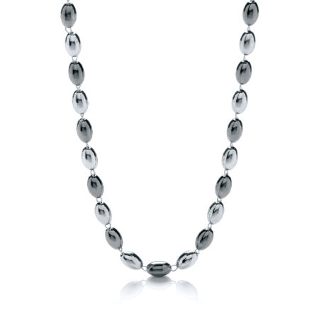 "925 Sterling Silver & Ruthenium Oval Bead Necklace 36""/92cm"