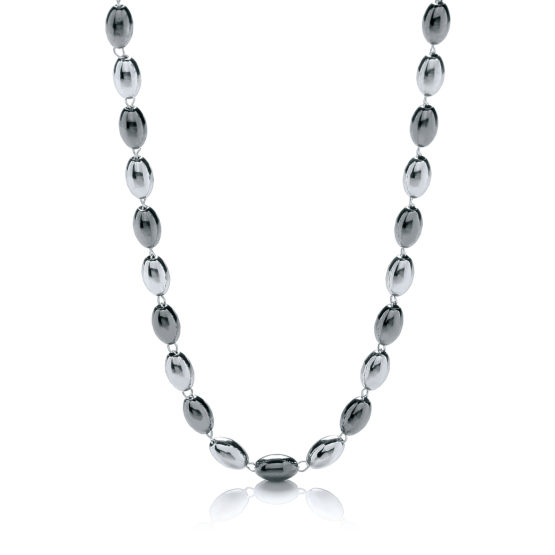 925 Sterling Silver & Ruthenium Oval Bead Necklace 36″/92cm
