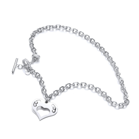 925 Sterling Silver Heart Chain with Floating Swarovski Elements