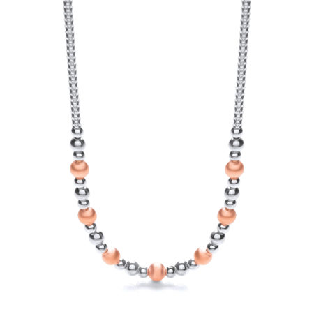 "925 Sterling Silver & Rose Plated Beads Necklace 17""/43cm"
