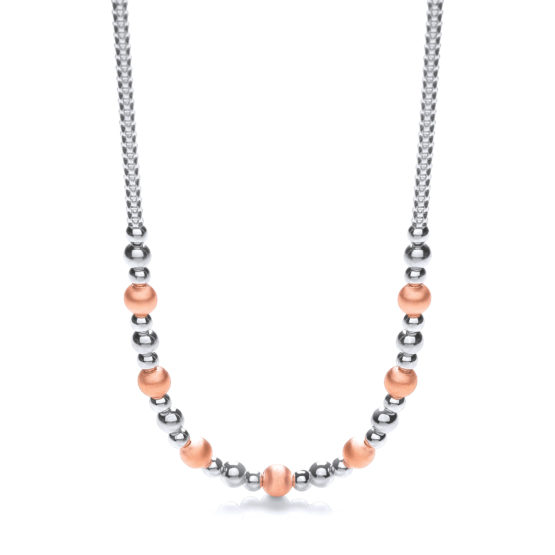 925 Sterling Silver & Rose Plated Beads Necklace 17″/43cm