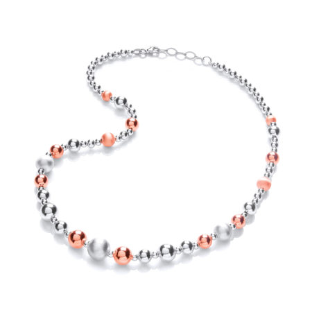925 Sterling Silver & Rose Plated Graduated Beads Necklace