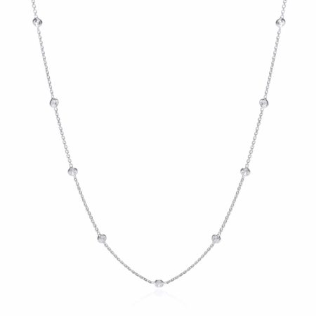 """925 Sterling Silver Rubover 11 Cz's Necklace 18"""""""