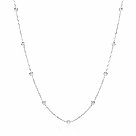 925 Sterling Silver Rubover 11 Cz's Necklace 18″