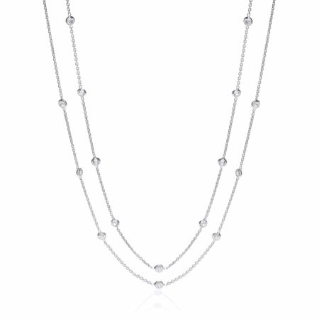 """925 Sterling Silver Rubover 23 Cz's Necklace 38"""""""